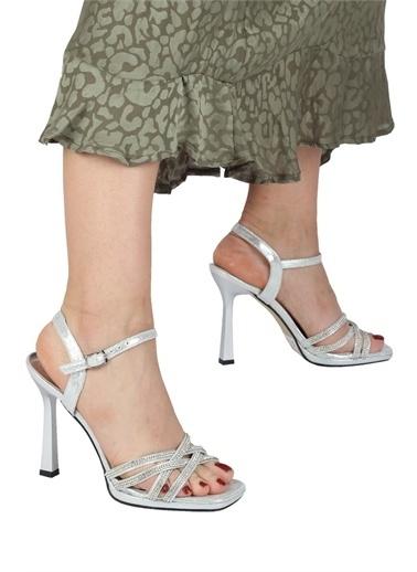Modabuymus Modabuymus  Taşlı Çapraz Bantlı Platform Topuklu  Abiye Ayakkabı - Reul Gümüş